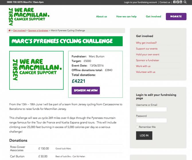 Macmillan sponsorship page
